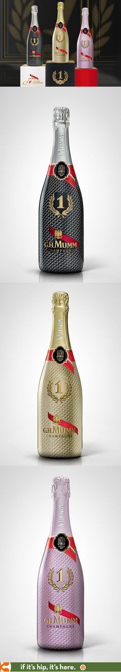 G.H. MUMM Limited No.1 Night Edition. The bottle design was to symbolize the shared energy (i.e. collaboration) between Formula 1 and GH Mumm