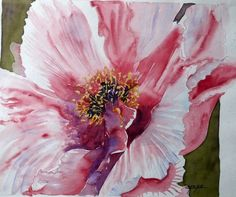 coeur de pivoine rose, aquarelle florale : Peintures par cyane
