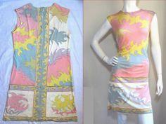 EMILIO PUCCI VINTAGE 1960's PRETTY~PASTEL!! SILK~JERSEY SIGNED MOD SHIFT DRESS M