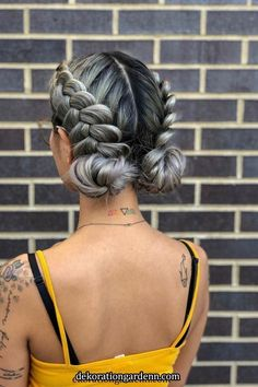 another angle on this beautiful festival ready braided updo! want to recreat the. another angle on this beautiful festival ready braided updo! want to recreat the look at home? try double dutch braids into low space buns Box Braids Hairstyles, Cool Hairstyles, Hairstyle Ideas, Festival Hairstyles, Two Buns Hairstyle, Hair Ideas, Beautiful Hairstyles, Elegant Hairstyles, Mohawk Braid