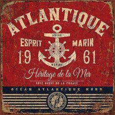 Vintage Labels Art Print: Esprit marin by Bruno Pozzo : - Vintage Tin Signs, Vintage Labels, Vintage Ads, Decoupage Vintage, Decoupage Paper, Vintage Pictures, Vintage Images, Etiquette Vintage, Foto Transfer