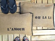 cushions in grainsack and burlap