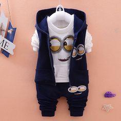 Autumn Baby Girls Boys Minion Suits Infant/Newborn Clothes Sets Kids Vest+T Shirt+Pants 3 Pcs Sets