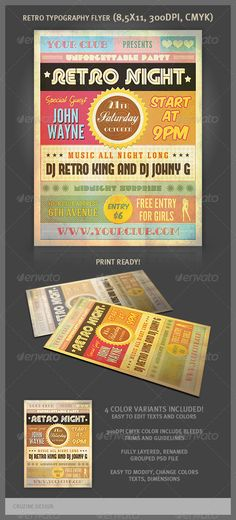 Retro Typography Party Flyer - http://graphicriver.net/item/retro-typography-party-flyer/3039639?ref=cruzine