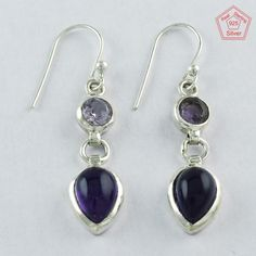 925 STERLING SILVER AMETHYST STONE ELEGANT DESIGN EARRINGS E3699 #SilvexImagesIndiaPvtLtd #DropDangle