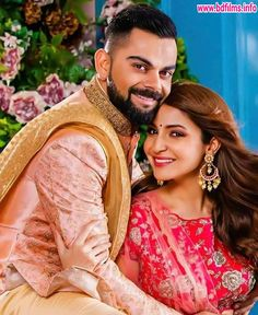 Anushka Sharma looks Phenomenal and Virat Kohli is looking Dapper in their Stunning Wedding wears by Manyavar Mohey. Bollywood Mode, Bollywood Couples, Bollywood Wedding, Bollywood Celebrities, Bollywood Fashion, Bollywood Actress, Punjabi Wedding, Bollywood Stars, Anushka Sharma And Virat