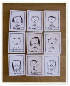 Make a little portrait of each of classmate. Start with a little template printed onto a piece of tagboard, with a head and shoulders drawn in, and a frame where each child's name can be written. This helped make all the portraits roughly the same size.