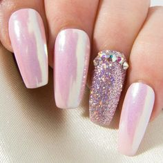 Coffin False Nails with Crystals  Pink Iridescent Chrome