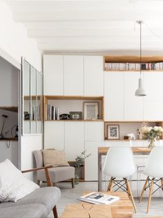 Storage wall made with ikea cabinets and oak planks - Home Page Small Space Design, Small Spaces, Modern Loft, Kitchen Interior, Kitchen Furniture, Home And Living, Home Office, Living Room Decor, Living Area