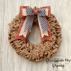 This decorative patriotic natural burlap wreath is stylish, elegant, and would look amazing hanging on your front door!    Welcome your guest with