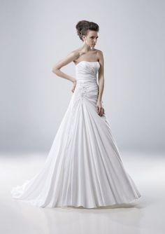 A-line Strapless Ruched Bodice Floral Applique Taffeta Wedding Dress-wa0066, $264.95