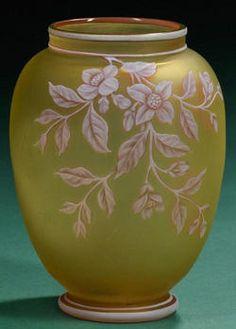 glass, England, A Thomas Webb and Sons [three color] Art Nouveau Cameo art glass vase, Stourbridge, England, white over pink floral cameo decoration on a citron ground with insect or butterlfy on opposing side circa 188-1920