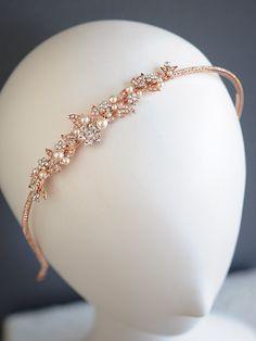 Rose Gold Wedding Headband Vintage Style by GlamorousBijoux