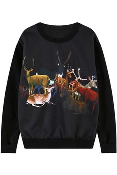 This sweatershirt featuring deer on a classic holiday motif in this case. This sweatshirt has round neck,long sleeves,ribbed trim. Printed Sweatshirts, Fashion Sweatshirts, Hoodies, Christmas Lingerie, Christmas Leggings, Deer Print, Graphic Sweatshirt, Black Christmas, Pullover