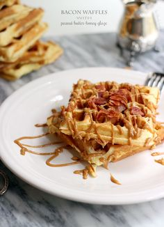 Extra Fluffy Bacon Waffles with Peanut Butter-Honey Glaze.--- sweet mother of god Bacon Waffles, Pancakes And Waffles, Frozen Waffles, Honey Glaze, Honey Syrup, Peanut Butter Desserts, Breakfast Recipes, Breakfast Bites, Dessert Recipes