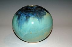 Round Blue and Green Waterfall Pottery Vase by nhfinestoneware, $115.95
