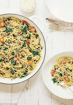 Full of flavour from the spinach, tuna and cherry tomatoes, this recipe is very healthy, too