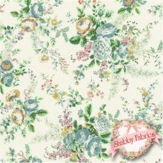 """Mary Rose Collection -  Sweet Charms 2150-13B by Quilt Gate: Mary Rose is a time-tested group of fabrics by QuiltGate.  This fabric is from the Sweet Charms collection.  43""""/44"""" wide and 100% cotton.  Fabric features floral bouquets with blue roses on a cream background."""