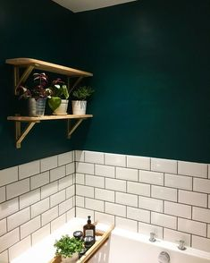 Bathroom Decor ikea New gorgeous dark green bathroom using Deep Sea Green by Valspar Paint, Ikea Erkby shelf brackets and Topps Tiles Metro tiles. Picture owned by bethie. Ikea Bathroom, Downstairs Bathroom, Bathroom Furniture, Bathroom Interior, Small Bathroom, Bathroom Ideas, Parisian Bathroom, Rental Bathroom, Bathroom Renovations
