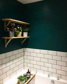 Bathroom Decor ikea New gorgeous dark green bathroom using Deep Sea Green by Valspar Paint, Ikea Erkby shelf brackets and Topps Tiles Metro tiles. Picture owned by bethie. Ikea Bathroom, Bathroom Interior, Bathroom Ideas, Paint Bathroom Tiles, Parisian Bathroom, Green Bathroom Tiles, Rental Bathroom, Metro Tiles Kitchen, Bathroom Renovations