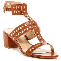 Marc Fisher Jullep Chunky Heeled Sandal ($55) ❤ liked on Polyvore featuring shoes, sandals, sahara, vegan sandals, thick heel shoes, chunky shoes, mid-heel sandals and studded sandals