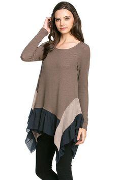 Ruffled Hem Top - Mocha/Navy | Knitted Belle Boutique