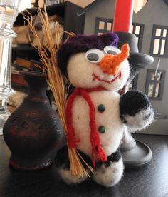 Christmas Tree Ornament Snowman  Felted Unique Tree by JadAngel