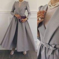 Sold Out! - Tesettür Kaban Modelleri 2020 - Tesettür Modelleri ve Modası 2019 ve 2020 Abaya Fashion, Muslim Fashion, Modest Fashion, Fashion Dresses, Modest Outfits, Skirt Outfits, Estilo Abaya, Casual Chique, Hijab Casual