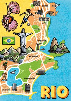 by Jane Smith Brazil Art, Rio Brazil, Brazil Carnival, Brazil Olympics 2016, Map Diagram, South America Destinations, Rock Climbing Gear, Samba, Brazil Travel