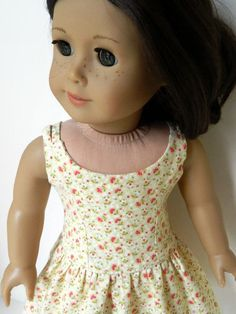 American Girl Doll Clothes Yellow Floral Cotton by 18Boutique