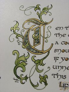"""Illuminated Calligraphy Made To Order - Commission Sample """"Ten Thousand Flowers"""" (2012)"""