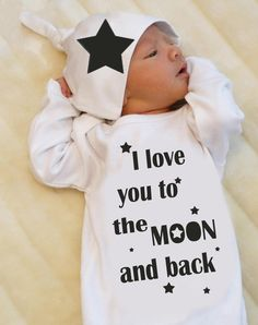 Newborn Take Home Outfit for Baby Boy or Baby Girl, I love you to the Moon and back, Newborn Gown, Unisex Baby Clothes - http://www.babies-clothes.info/newborn-take-home-outfit-for-baby-boy-or-baby-girl-i-love-you-to-the-moon-and-back-newborn-gown-unisex-baby-clothes.html