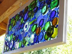 Blue Bottle Window glass panel from recycled glass Wine Bottle Trees, Wine Bottle Art, Bottle Wall, Blue Bottle, Wine Bottle Crafts, Glass Bottle, Bottle Candles, Vodka Bottle, Mosaic Art