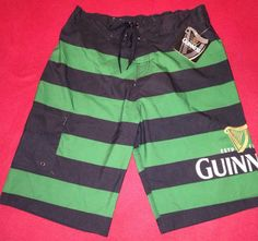 Guinness Beer Swim Trunks Green Black Striped Irish Beer Surf Board Shorts Small #Guinness #BoardShorts #swimtrunks #irishwear