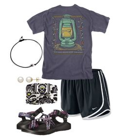 """""""Homecoming game: blackout"""" by paigerohrer ❤ liked on Polyvore featuring NIKE, Chaco, Vera Bradley and Honora"""