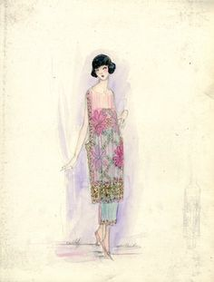 """""""Day Dress, Callot Soeurs, Spring 1919. Aquamarine tea length dress with tunic in pink with large flowers; straight skirt trimmed with pink floral design at hem; sheer pink tunic with pink flowers, trimmed in pink floral. (Bendel Collection, HB 032-45)"""", 1919. Fashion sketch. Brooklyn Museum, Fashion sketches. (Photo: Brooklyn Museum, SC01.1_Bendel_Collection_HB_032-045_1919_Callot_SL5.jpg)"""