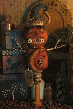 """Primitive Pumpkin Witch Makedo"" by Threadbare Primitives Halloween Doll, Halloween Projects, Diy Halloween Decorations, Holidays Halloween, Vintage Halloween, Halloween Pumpkins, Fall Projects, Halloween Stuff, Happy Halloween"