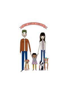 Custom Family Portrait 5 people Custom Portrait by diarysketches, $310.00