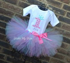 """Pink, Aqua, and Lilac Birthday Crown """"Ava"""" Tutu Outfit"""