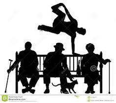 Editable vector silhouette of a young man vaulting over three elderly. Parkour, Paper Cutting, Drama, Silhouette, Clip Art, Illustrations, Young Man, Oeuvre D'art, Les Oeuvres