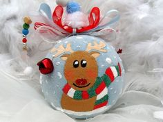 My First Christmas,Personalized Christmas Ornament, 1st Christmas, Babies First, Reindeer Bauble, Jingle Bell Rudolph, Christmas decoration, Christmas Ornament, Christmas Tree Ornament