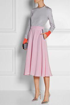 Roksanda Ilincic|Tilton silk crepe de chine midi skirt|NET-A-PORTER.COM