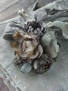 for the love of linen - Ana Rosa Silk Flowers, Fabric Flowers, Shabby Flowers, Lady Grey, French Blue, Dusty Blue, Handmade Flowers, Flower Making, Shades Of Blue