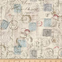 Tim Holtz Eclectic Elements Correspondence Taupe from @fabricdotcom  Designed by Tim Holtz, this cotton print is perfect for quilting, apparel and home decor accents.  Colors include taupe, teal, blue, raspberry, violet, grey, soft black and olive.