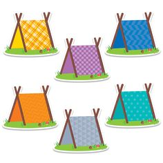 """These fun Pup Tents 6"""" designer cut-outs are great for highlighting student work on a bulletin board and for cubby tags. Perfect for use in a variety of classroom displays and themes: science, nature,"""