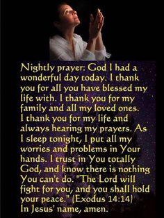 Goodnight and sweet dreams! Love, hugs and prayers to you. Prayer Scriptures, Bible Prayers, Faith Prayer, God Prayer, Prayer Quotes, Power Of Prayer, Catholic Prayers Daily, Bible Verses, Prayer Before Sleep