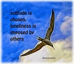 Solitude is chosen, loneliness is imposed by others...