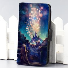 tangled rapunzel galaxy disney cartoon wallet case for iphone 4,4s,5,5s,5c,6 and samsung galaxy s3,s4,s5 - LSNCONECALL.COM