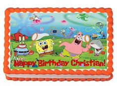 Spongebob Squarepants Personalized Birthday Edible Cake Cupcake Topper