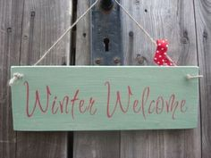 Winter Welcome red and green Wooden Christmas signs - Large Image